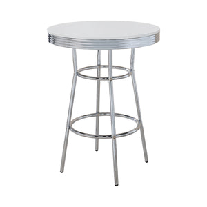 Coaster Round Bar Table Chrome And Glossy White