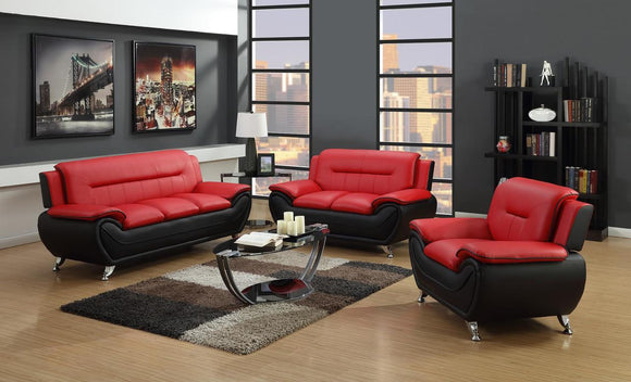 CHARMAX METRO LIVING ROOM SET RED/BLACK
