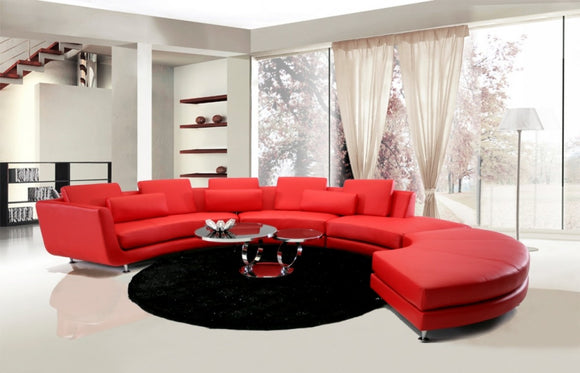 Divani Casa - Contemporary Leather Sectional Sofa & Ottoman-  *SPECIAL-ORDER*