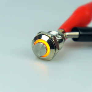 10mm AV Illuminated Momentary Switch Yellow Ring - Raised Actuator