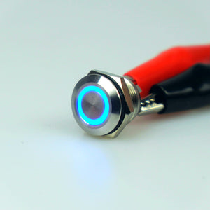 Short Body 12mm AV Illuminated Momentary Switch Blue Ring