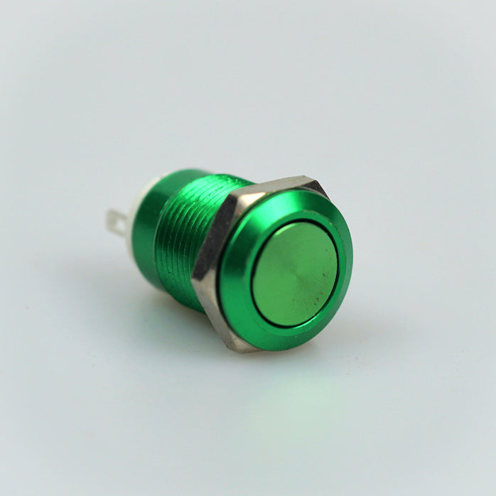 12mm Momentary Switch – Green – Flat Top