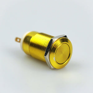 12mm Latching Switch - Gold - Flat Top