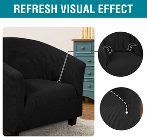 Elegant Black Club Chair Slipcover