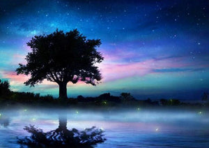 Beautiful Tree & Night Sky Diamond Painting