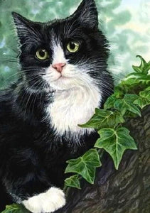 Black Cat on Tree Diamond Painting