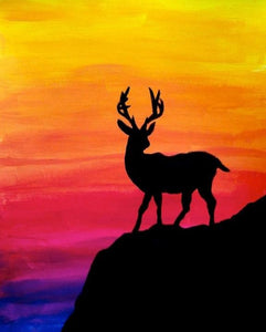 Black Stag with Colorful Background Diamond Painting