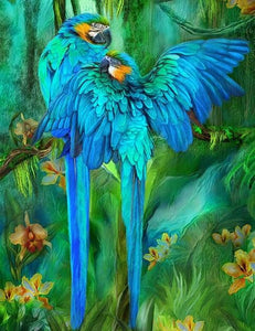 Blue African Parrots Pair Diamond Painting