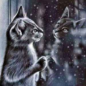 Cat Admiring Her Reflection Diamond Painting