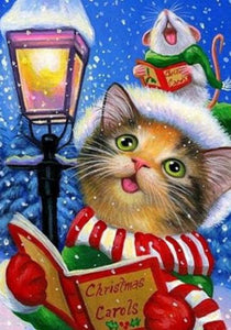 Christmas Cat Paint by Diamonds