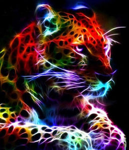 Colorful Neon Leopard Paint by Diamonds