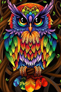 Colorful Owl Paint by Diamonds