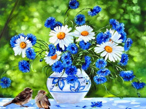 Cornflower Daisies & Sparrows Diamond Painting
