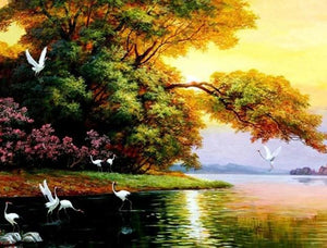 Cranes in the Lake Paint by Diamonds