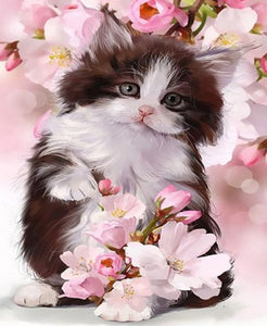 Cat & Flowers Paint with Diamonds