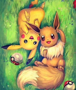 Cute Eevee & Pikachu Paint by Diamonds