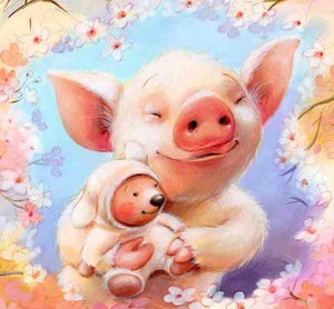 Cute Pig & Baby Diamond Painting