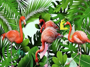 Flamingos & Plants Paint by Diamonds