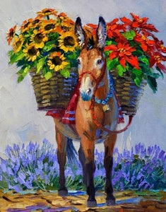 Flower Burro Diamond Painting Kit
