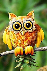 Fruit Carvings of Owl Paint by Diamonds