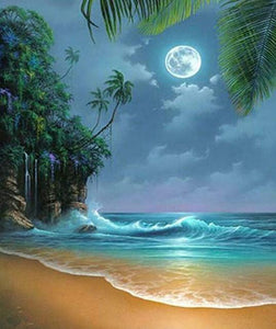 Full Moon on the Beach Diamond Painting Kit