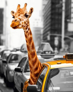 Giraffe in Taxi Paint by Diamonds