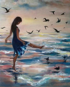 Girl & Birds on the Beach Diamond Painting