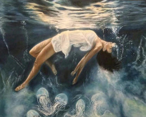 Girl Floating in Water Paint by Diamonds