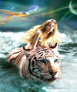 Girl Riding a White Tiger Diamond Painting