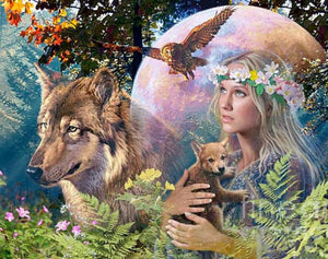 Goddess of the Wolves Paint by Diamonds