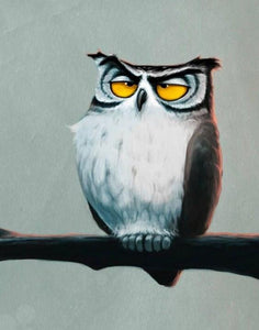 Grumpy Owl Diamond Painting Kit