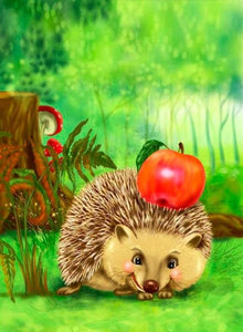 Happy Cartoon Hedgehog Paint by Diamonds