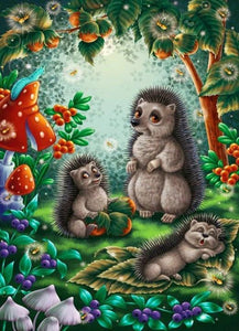 Hedgehogs Cartoon Family Paint by Diamonds