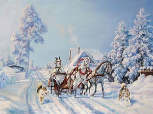 Horse Cart on Snowy Road Diamond Painting