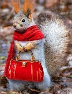 Lady Squirrel Paint by Diamonds