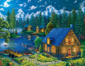 Lake Forest Cabin Diamond Painting