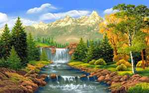 Mountains Stream Paint by Diamonds