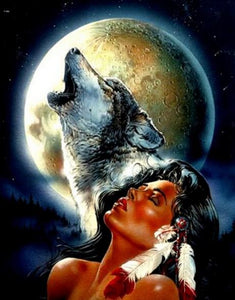 Native Woman & The Wolf Diamond Painting
