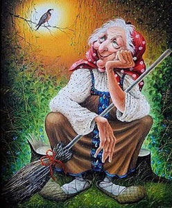 Old Witch with Broom Diamond Painting Kit