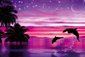 Pink Sky & Dolphins Pair Diamond Painting