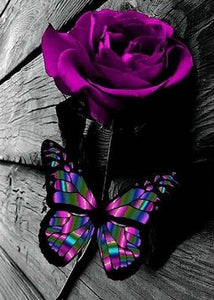 Purple Rose & Butterfly Diamond Painting