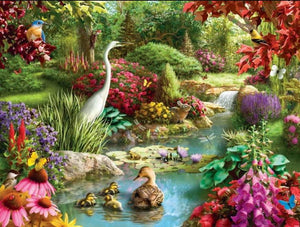 Rabbit & Birds in a Beautiful Garden Diamond Painting