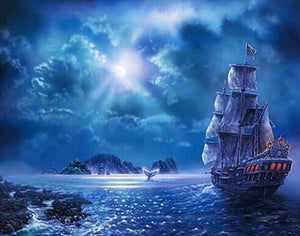 Sailing Ship at Night Diamond Painting Kit