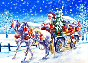 Santa Claus in Horse Carriage Diamond Painting