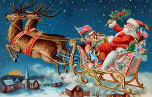 Santa Claus on his Flying Cart Diamond Painting