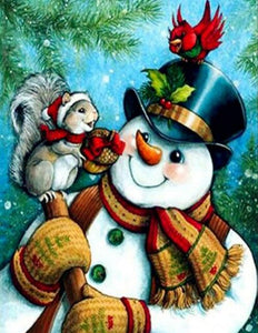 Snowman with Squirrel & Bird Diamond Painting