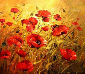 Sun Shines in Poppy Fields Diamond Painting