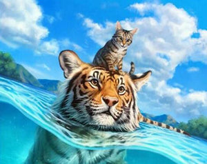 Swimming Tiger & Cat Diamond Painting