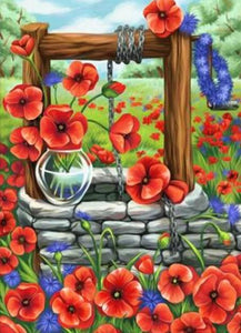 Water Well & Flowers Paint by Diamonds
