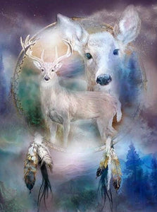 White Deer Dream Catcher Paint by Diamonds